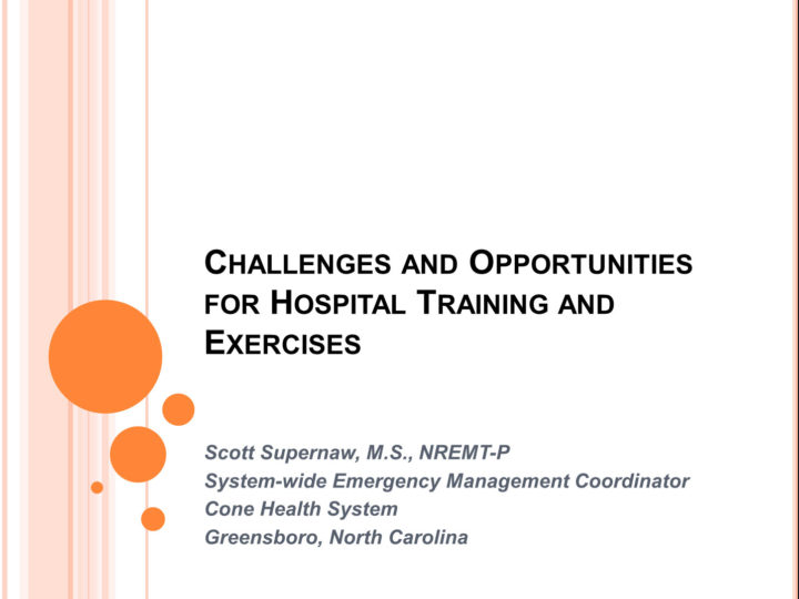 Challenges and Opportunities for Hospital Training and Exercises Webinar