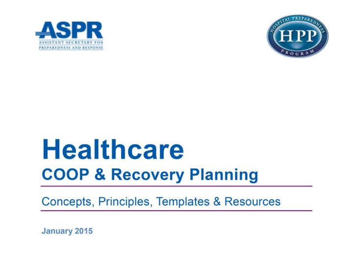 Healthcare COOP and Recovery Planning