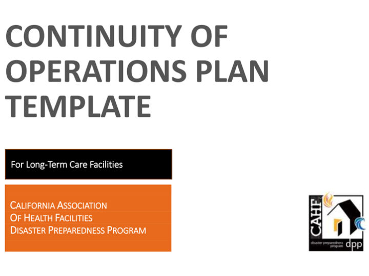 CAHF Continuity of Operations Plan Template