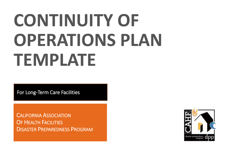 cahf continuity of operations plan template cdph emergency