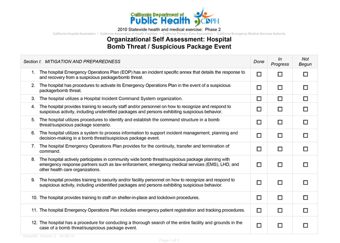 Organizational Self Assessment: Hospital Bomb Threat / Suspicious Package Event
